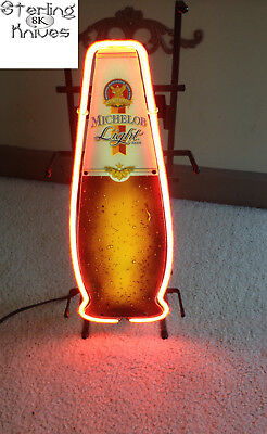 "22-3/4"" High Anheuser-Busch Michelob Light Beer Neon Icon Beer Bottle USA Made"