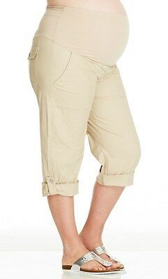 Ladies 3/4 Length Maternity Cargo Pants with Comfy Roll Waist