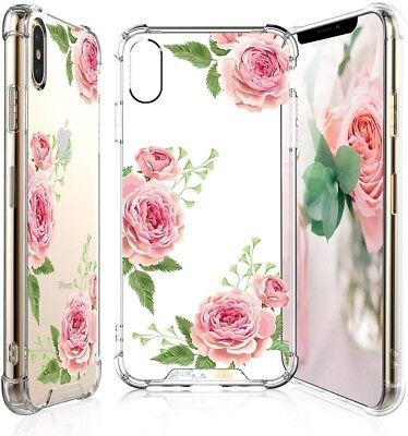 TJS for iPhone XS Max Case with Tempered Glass Screen Protector, Clear Flower