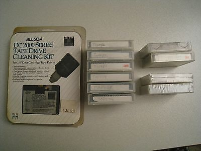 Vintage DC 2000 Series 10 Tape Cartridges w/ Tape Drive Cleaning Kit