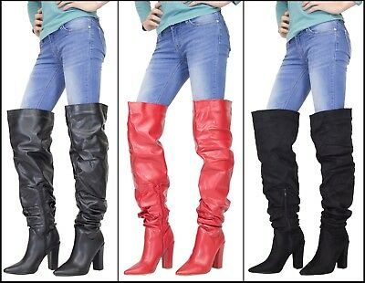 Womens Over The Knee High Heel Ladies Long Boots Pointy Toe Thigh High Boot UK
