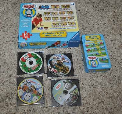 EUC-Lot of 6 Thomas The Train 6 Ft Puzzle, Tic Tac Toe & 4 Thomas & Friends DVD
