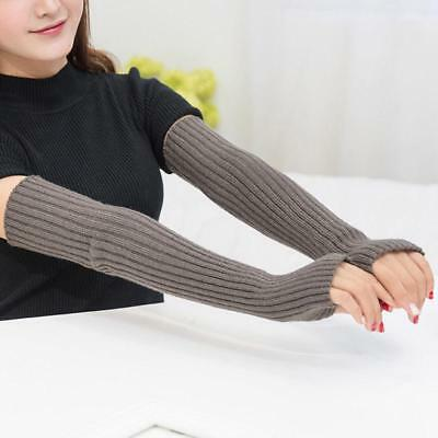Fingerless Long Mittens Winter Warmer Palm Gloves Arm Wool Blend Knitted Warmers