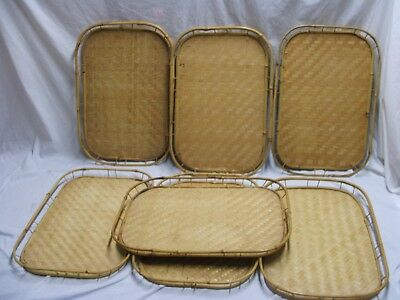 Vintage Lot  Tiki Bamboo Rattan Woven Wicker Serving Bed Lap Trays