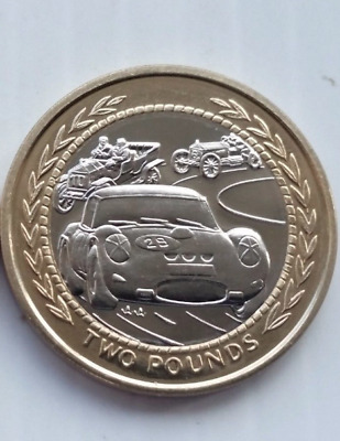 UNCIRCULATED  Isle of Man 1998 Vintage Rally Car £2 Pound Coin for collectors
