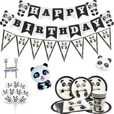 Panda Birthday Party Kids Tableware Decoration Plates Banner Cups Napkins