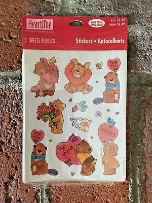 "Vintage Hallmark Valentine""s Day Stickers Sweet Animals New Unopened 3 Sheets"