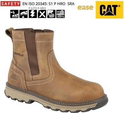 Caterpillar CAT Pelton Brown Steel Toe Cap Safety S1P SRC Chelsea Dealer Boots