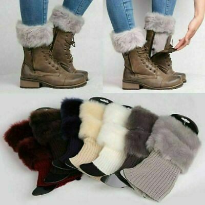 Women Winter Warm Crochet Knit Fur Trim Leg Warmers Cuffs Toppers Boot Socks HOT