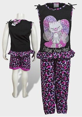 Girls 3 Piece Pyjama Set By Sweet & Sassy Heart Cat Black NEW TAGGED 4-16 Years
