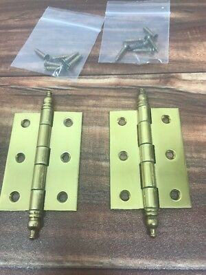 """Small Vintage Polished Brass Cabinet Hinge with Steeple Tip 2 1/2 x 1 3/4"""" Set 1"""