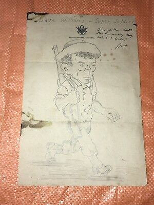 Camp Claiborne Louisiana Wwii Army Marines Pencil Sketch Caricature Soldier