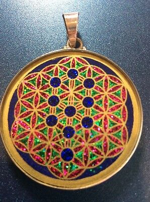"""$72 #Tree Of Life #Flower Of Life Lapis Necklace 1.5/8"""" Pendant Sterling Silver"""