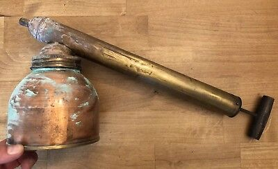 Vintage Bug Sprayer with Brass Pump, Copper Chamber, Wooden Handle Made In USA