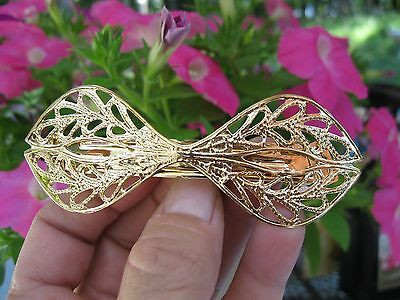 Vtg New Gold Lightweight Metal Bow Tie Hair Barrette French Clip Retro 70's 80's
