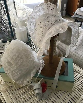 2 White Baby Bonnets For Dolls Or Baby Very Nice!