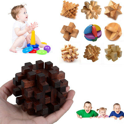 1 Pcs Ball Puzzle Lock Wooden IQ Brain Teaser Adult Kid Ming Luban Lock Puzzle