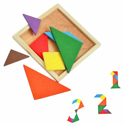Wooden Tangram Brain Teaser Puzzle Educational Developmental Kids Toy New