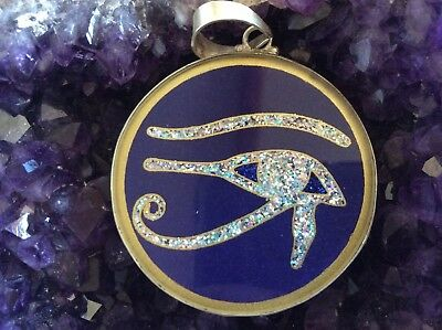 "$72 Eye of Horus 1 5/8"" Pendant Lapis Gemstone Necklace Sterling Silver Mystic"