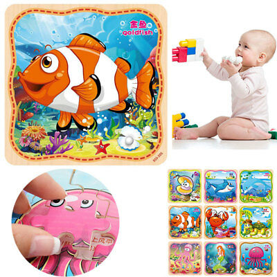 16Pcs DIY Wooden Marine Animals Puzzle Jigsaw Baby Kids Training Education Toy