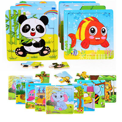 9Pcs DIY Wooden Cartoon Animals Puzzle Jigsaw Baby Kids Training Education Toy