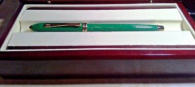 Cross Townsend  RARE lAPIS JADE rollerball  Pen 22KT GOLD flake finish USA