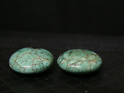(aC028)  2  Beautiful  Vintage Natural Turquoise Hand Carved Beads