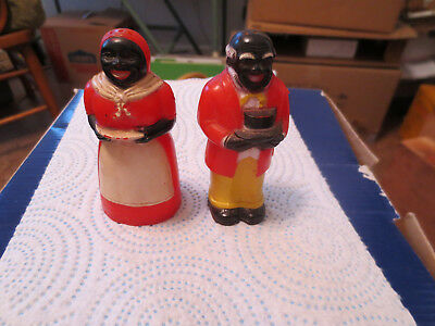 Vintage 1940's Aunt Jemima and Uncle Mose salt and pepper shakers   A
