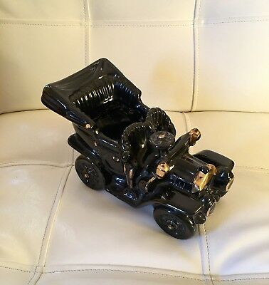 Vintage 1950's Black & Gold Antique Car Planter, Pottery. In Great Condition!