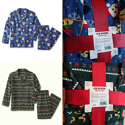 Joe Boxer Men's Flannel 2 Piece Pajama Set Footbal or Emoji Christmas