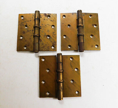 Vintage Stanley Heavy Duty Door Hinges Brass 4 1/2""