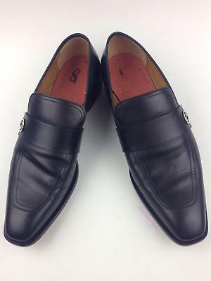 9e50ee75a82 GUCCI BROADWICK MEN S Black Leather Loafers Shoes Size 9.5 UK   10.5 ...