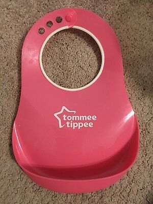 Baby Feeding Bib Comfi Neck Catch All Bibs Plastic Tommee Tippee Pelican Pink