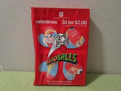 Vintage 1988 American Greetings Madball Valentines Day Cards Sealed Box Of 30