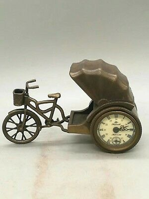 China Antique Old bronze bicycle type clock Watch Home statue Tables