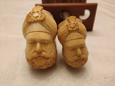 Set of 2 Vintage Carved Meerschaum Pipes