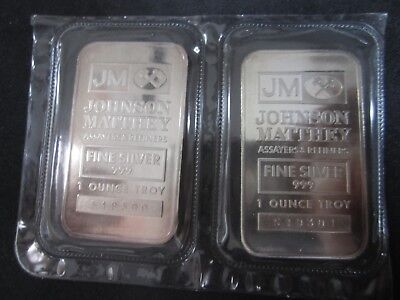 2 X JM Johnson Matthey 1 oz 999 Silver bars - Consecutive S/N old style Sealed