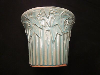 Vintage McCoy Pottery Green Ivy and Berry Ribbed Flower Pot Vase