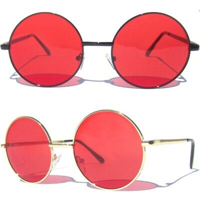 e18a27c8bc Red Lens Round Metal Frame Sunglasses Classic Lennon Ozzy Style Retro Hippie