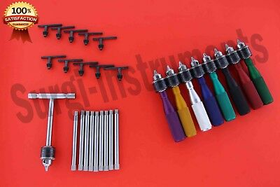 Hand Drill Colours 16cm With T Handle Set Of 09 PCS Orthopedic Instruments