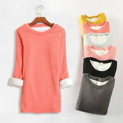 Lady Cotton Thermal Pullovers Jumper Thick Fleece Lined Winter Solid Tops Blouse
