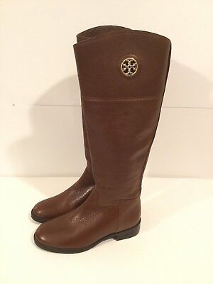 85fba0a08 TORY BURCH JUNCTION Bown TEXTURED LEATHER GOLD REVA TALL RIDING BootS 5.5