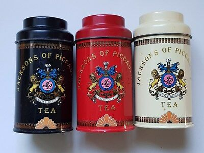 Vintage Jacksons of Piccadilly Small Tea Tins Canisters Collectable Set of 3