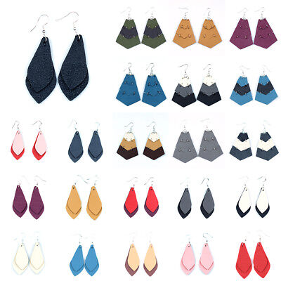 Womens Pu Leather Earring Vintage Retro Sector Statement Jewelry Drop Dangle