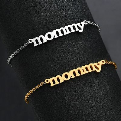 Women Mommy Letter Stainless Steel Bracelet Brangle Mother's Day Gift Jewelry