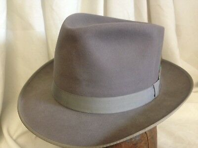 3b93890a3f84a Vintage Champ Featherweight Mens Gray Kasmir Finish Fur Felt Fedora Hat - 7  3 8