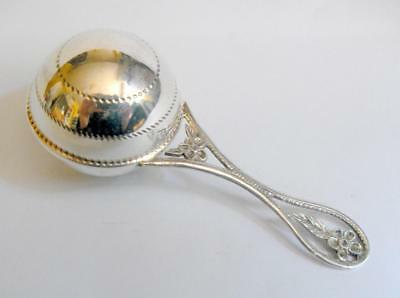 Vintage continental silver 925 baby rattle 11885