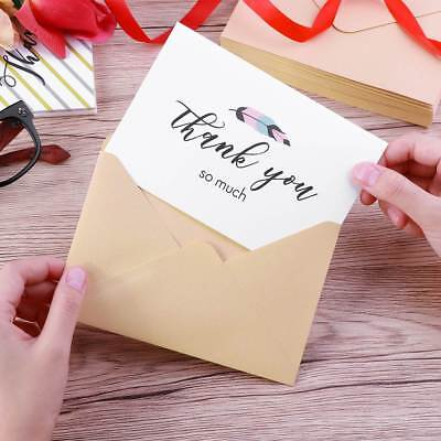30PCS Thank You Greeting Cards Set Notes With Matching Kraft Envelopes Stickers