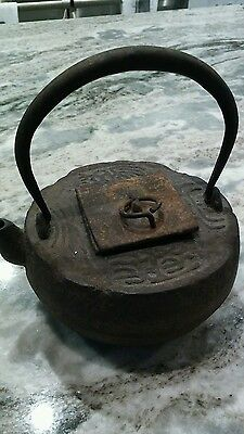 Antique Japanese Cast iron Tetsubin tea ceremony tea kettle tea pot