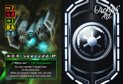 "X-Wing Miniatures - Custom Alt Card - ""Redline"" (TIE Punisher)"